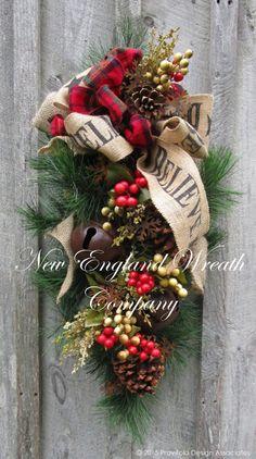 christmas wreath christmas swag holiday door wreath sleigh bells woodland christmas swag