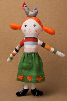 Lulú the little hen keeper cloth doll by Marpez on Etsy