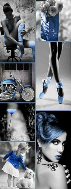 Blue Color Splash ღ Lu's Inspiration Color Trends, Color Combinations, Color Schemes, Beauty Photography, Street Photography, Fashion Photography, Winter Typ, Mood Colors, Colours