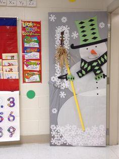Wintry door decorations from teacher Ailsa  Price via our WeAreTeachers FB page.: