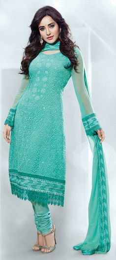 409955, Party Wear Salwar Kameez, Bollywood Salwar Kameez, Chiffon, Machine Embroidery, Resham, Stone, Zari, Border, Thread, Lace, Blue Color Family