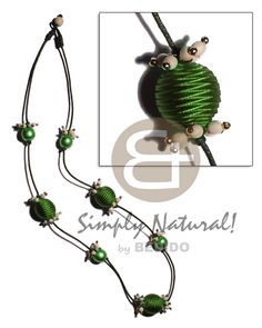 Wrapped Wood Beads Crown Ricebeads/wood Beads Accent / Dark Green Tones In Wax Cord / 30 In. Wooden Necklace, Wooden Jewelry, Beaded Necklace, Summer Necklace, Shell Necklaces, Philippines, Cord, Ethnic, Wax