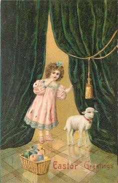 Easter~Victorian Girl Pulls Heavy Emerald Parlor Drapes~Lil Lamb~Egg Basket~1909