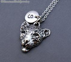 Leopard head Necklace Leopard head charm by ShortandBaldJewelry