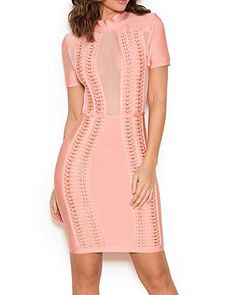 New Trending Formal Dresses: UONBOX Womens Short Sleeves Sheer Mesh Panels Bandage Dress with Hardwear Adorned pink S. UONBOX Women's Short Sleeves Sheer Mesh Panels Bandage Dress with Hardwear Adorned pink S   Special Offer: $73.00      433 Reviews UONBOX Women's Short Sleeves Sheer Mesh Panels Clubwear Bandage Dress with Hardwear Adorned Combines beautiful pastel tones with gold hardware and...