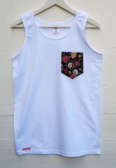 Men's Multi Roses Pattern White Pocket Tank Top by HeartLabelTees Modern African Clothing, Mens Tees, Men Shirt, Afro, Tank Man, Shirt Designs, Southern Marsh, Southern Tide, Southern Prep
