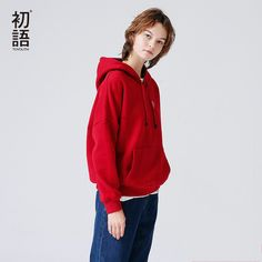 Toyouth Hoodies Sweatshirts  2017 Autumn Winter Character Embroidery Solid Color Fleece Long Sleeve Loose Tracksuit With Pocket #Brand #Toyouth #sweaters #women_clothing #stylish_dresses #style #fashion