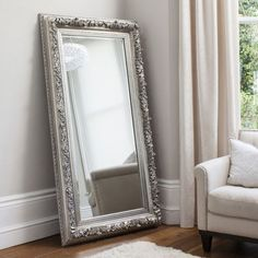 Eclipse leaner floor mirror rectangular in silver, bold and unique piece perfect for your modern home decor - 33983 modern, contemporary cheval decorative mirrors with storage online. Silver Floor Mirror, Ornate Mirror, Mirrors Silver, Decorative Mirrors, Mirror Mirror, Mirror Floor, Spiegel Design, Leaning Mirror, Ikea Wall