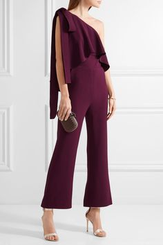 Elie Saab - One-shoulder Ruffled Stretch-crepe Jumpsuit - Grape - FR42