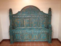 Rustic elegance southwest style. Distressed finish turquoise bed with conchos from rusticartistry.com