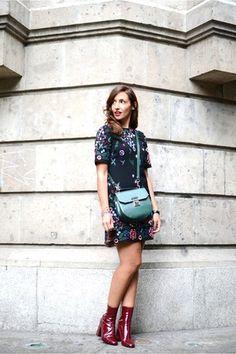 ruby red Zara boots - black Zara dress - dark green Zara bag