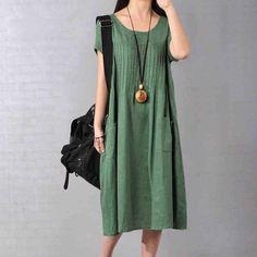 Dress - Women Cotton Linen Loose Fitting Dress