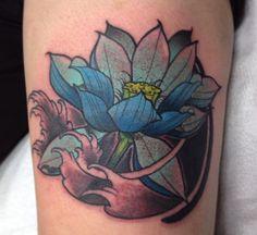 Small colourful lotus tattoo. Blue lotus. Simple small lotus design Gold Tattoo, Lotus Tattoo, Lotus Design, Blue Lotus, Flower Tattoos, Black Gold, Watercolor Tattoo, Tattoo Designs, Ink