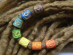 Korálky na dredy čakrové (zlaté) handmade by the.black.cat  #dreadlocks #beads #chakras #yoga