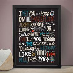Arctic Monkeys - Wette, Sie sehen gut aus auf dem Dancefloor-Poster, songtexte drucken, Musik Poster, Musik-Lyriken.  Größen erhältlich: A3 (11,7 x