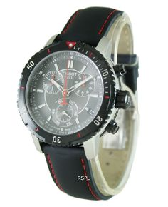 Tissot PRS 200 Men's Quartz Chronograph Black Dial Watch with Black and Red Leat for sale online Tissot Mens Watch, 200m, Stainless Steel Case, Gold Watch, Chronograph, Watches For Men, Quartz, Black Leather, Accessories