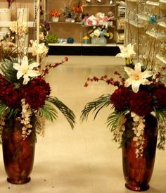 podium large silver and red floral arrangement - Google Search