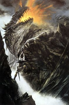 """Turin Turambar slays Glaurung: The Silmarillion: John Howe """"Then Turambar summoned all his will and courage and climbed the cliff alone, and came beneath the dragon. Then he drew Gurthang, and with all the might of his arm, and of his hate, he thrust it into the soft belly of the Worm, even up to the hilts."""""""