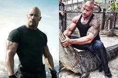 Dwayne The Rock Johnson looked every bit the hardman as he wrestled a live alligator. The wrestler-turned movie star posted a snap on Instagram of him straddling a giant gator.  With his famous biceps bulging The Rock gripped the killer beasts powerful jaws shut with his bare hands as he squatted over him in a tight black vest and blue denim jeans.  The Rock is currently promoting his new movie Rampage which is loosely based on the 1986 computer game of the same name.  It tells the story of…