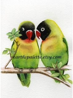 Exotic tropical lovebird bird paintings 5x7 print from original watercolor painting wall art home and garden Earthspalette op Etsy, 7,69 €