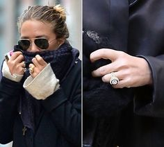 Mary-Kate Olsen's engagement ring is a 1953 vintage Cartier engagement ring featuring a four carat diamond surrounded by sixteen sapphires. Olivoer Sarkozy purchased the ring at Sotherbys Auction Engagement Ring Pictures, Celebrity Engagement Rings, Vintage Engagement Rings, Wedding Engagement, Royal Engagement, Engagement Celebration, Jessica Biel, Nicole Richie, Behati Prinsloo