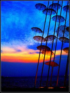 colored umbrellas in Greece, Thessaloniki