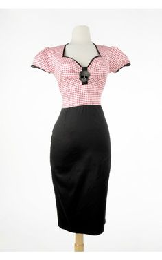 Troublemaker Dress in Red Gingham and Black - Plus Size | Pinup Girl Clothing