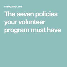 The seven policies your volunteer program must have