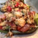 Chicken Stuffed Poblano Chilies with Mushrooms and Tomatoes