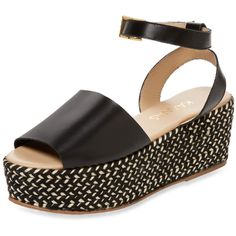 KAANAS Women's Trinidad Leather Platform Sandal - Black, Size 7 ($80) ❤ liked on Polyvore featuring shoes, sandals, black, leather wedge sandals, black wedge sandals, wedge heel sandals, woven wedge sandals and black wedge shoes