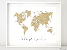 "Gold glitter world map ""oh the places you'll go"" Opening special offer: buy one instant download marked $4.90 and get another one free (of the same prize) using code BOGOINSTANT"