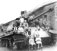 1945: Panther tank and kids
