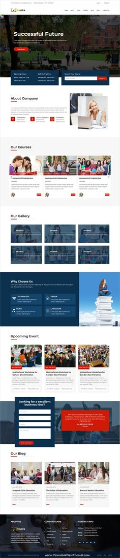 Inspire is a clean and modern design 2in1 responsive bootstrap #HTML #theme for #college, school, online #courses and education #learning institutes #website to download & live preview click on image or Visit