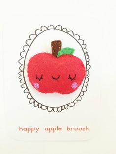 Red Apple Felt Brooch. $10.00, via Etsy.