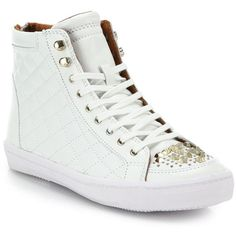 Perforated leather defines this sporty-chic high-top design with goldtone zipper detailing along the front.  Leather upper.  Lace-up vamp.  Back zipper.  Fabri…