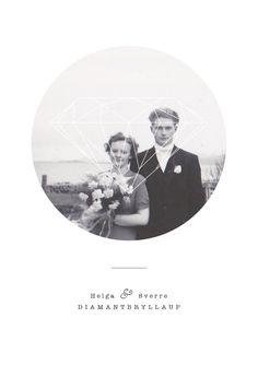 Silje Marita Lillebø // For my grandparents diamond wedding anniversary Grandparents, Wedding Anniversary, Polaroid Film, Diamond, Poster, Design, Grandmothers, Wedding Anniversary Years, Grandparent