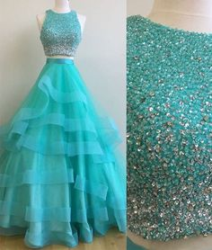 Green two pieces sequin long prom gown, green evening dress, green tulle sequin long formal dress