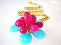 Flower jewelry Fuchsia and Aqua Blue Flower necklace by StarJewels, $68.00 #promote @thisartofmineUS