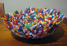 Making pretty things ~ melted bead bowls