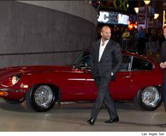 Sexy Jason Statham with a sexy Jaguar E-Type