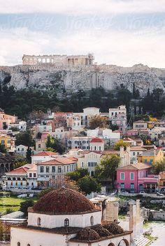 The Acropolis over the older neighborhood of Plaka, as seen from Monastiraki Square