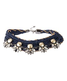 Another great find on #zulily! Navy Crystal Beaded Statement Necklace #zulilyfinds