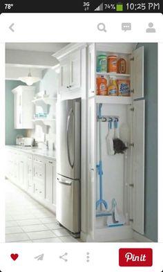 Take out double oven move fridge add broom closet.