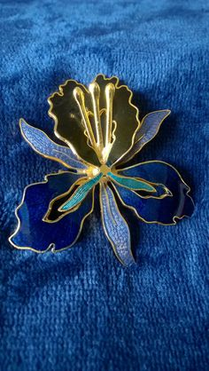 Vintage Brooch, Orchid, Cloisonne, Enamel Brooch, Costume Jewelry, Jewellery, Flower Brooch, Gifts for Her by TillyofBloomsbury on Etsy