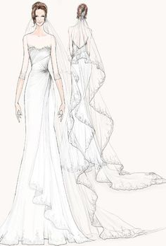 wedding gown sketch by #Watters for Angelina Jolie