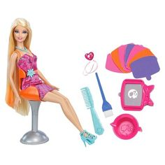 """Barbie Hairtastic Color Stylin Doll (746775167158) Your barbie fan will love this barbie hairtastic color stylin' doll play set. Your child can be a hairstylist at the barbie color foils salon. Once this articulated doll is sitting in her fabulous chair, your child can just get a strand of her hair wet and then streak the hair with any of 3 fabulous colors: pink, purple or orange. Her long, luscious hair can be styled in so many ways. The color rinses out, so it can be """"dyed"""" hair again and…"""
