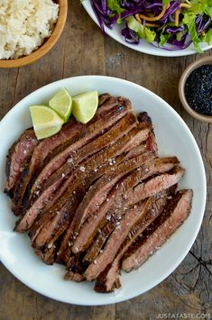 Kick up the flavor of tender flank steak with the ultimate Asian-inspired marinade starring fresh garlic, ginger and soy sauce. Kick up the flavor of tender flank steak with the ultimate Asian-inspired marinade starring fresh garlic, ginger and soy sauce. Asian Flank Steak, Flank Steak Tacos, Steak Marinade Recipes, Flank Steak Recipes, Steak Marinades, Asian Recipes, Beef Recipes, Cooking Recipes, Water Recipes