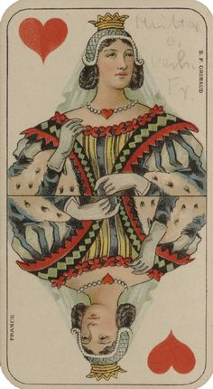 Grimaud-tarot allemand-queen of hearts Vintage Playing Cards, Vintage Cards, Vintage Labels, Vintage Ephemera, Vintage Pictures, Vintage Images, Paris 1900, Hearts Playing Cards, Vintage Valentines