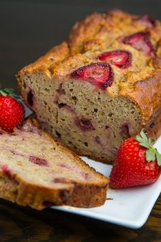 Greek Yogurt Strawberry Banana Bread- moist, light, & fluffy!