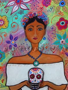 Frida Kahlo's Wedding. Orignal Painting by #prisarts ; great gift for wedding,anniversary,birthday,housewarming,graduation,dia de los muertos, day of the dead. For sale. Cool art. Theme. Floral.Flowers. Folk Art.
